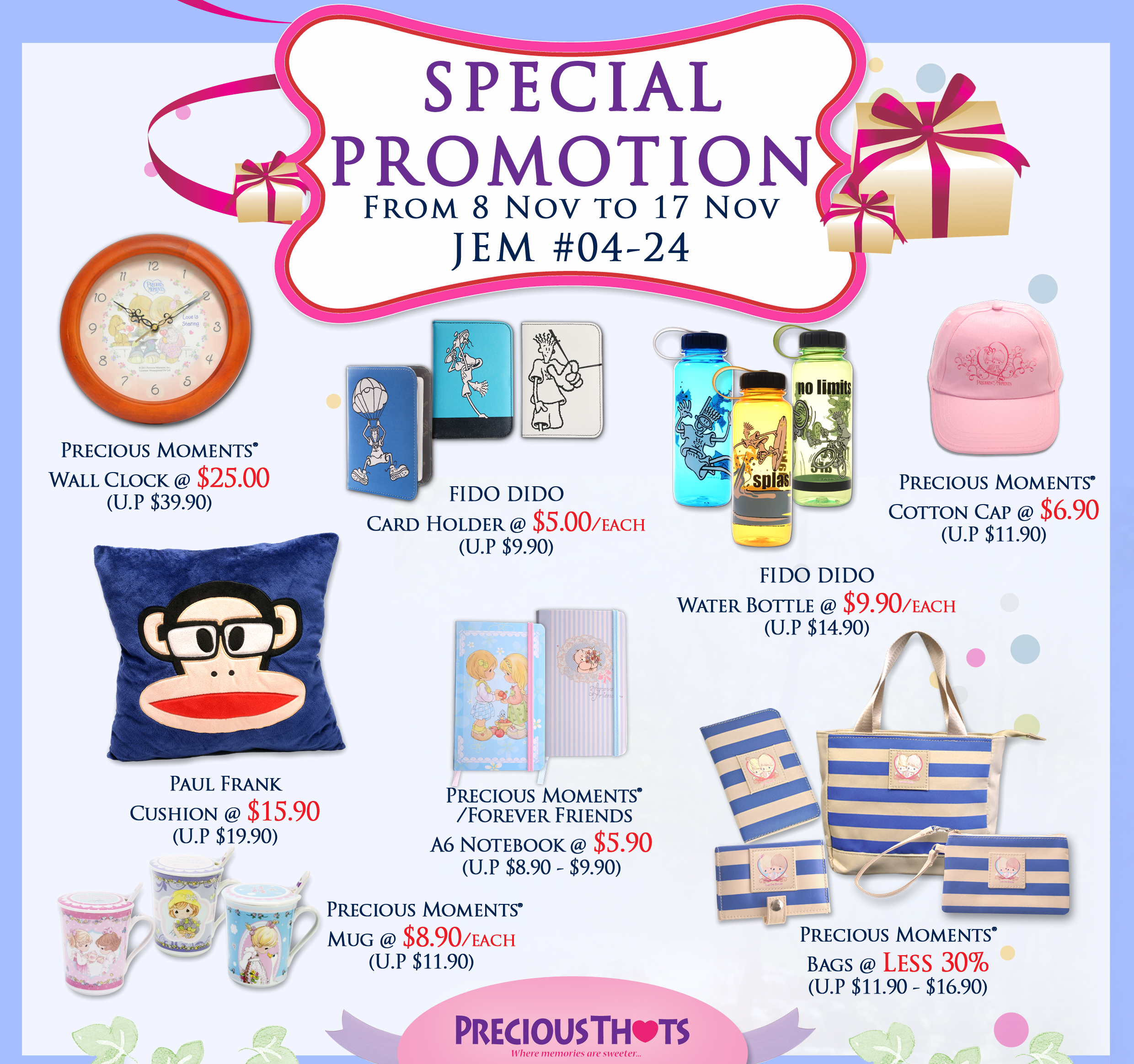 Precious Thots Special Promotion November 2013: Paul Frank Cushion @ $15.90 & More