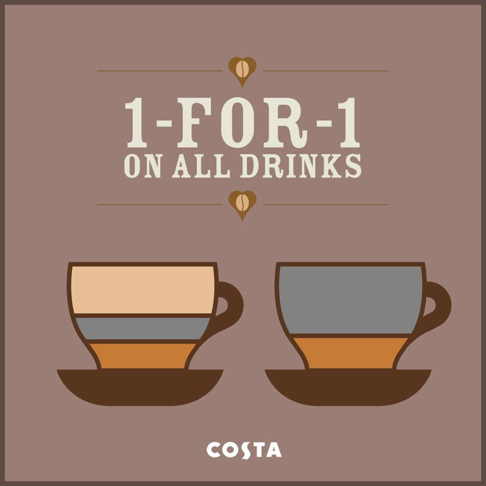 [BOGO] Costa Coffee Singapore 1-For-1 On All Drinks @ Robinsons Orchard New Outlet November 2013