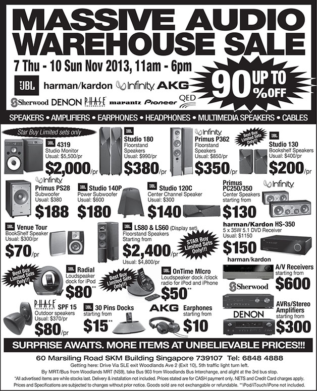 Massive Audio Warehouse Sale @ SKM Building, Up To 90% Off On Speakers, Amplifiers & More