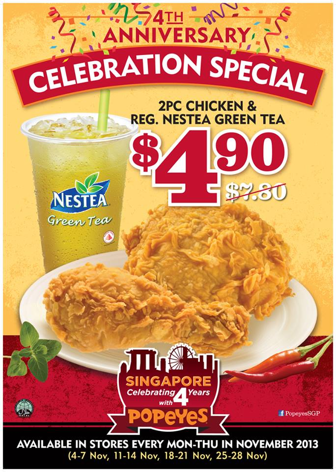 Popeyes 4th Anniversary Celebration Special: $4.90 For 2 Piece Chicken + NESTEA Green Tea Drink