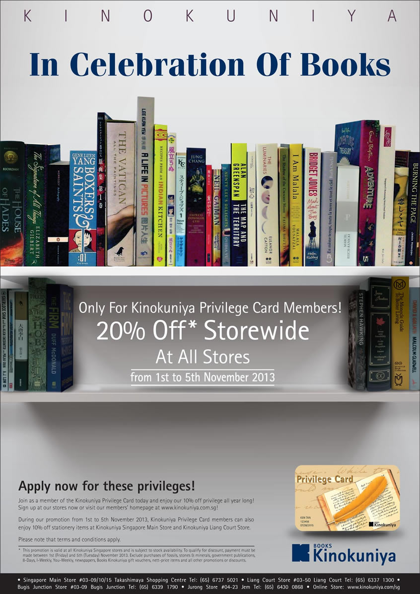 Kinokuniya 20% Off Storewide Sale In Celebration Of Books November 2013 [Privilege Card Members Only]