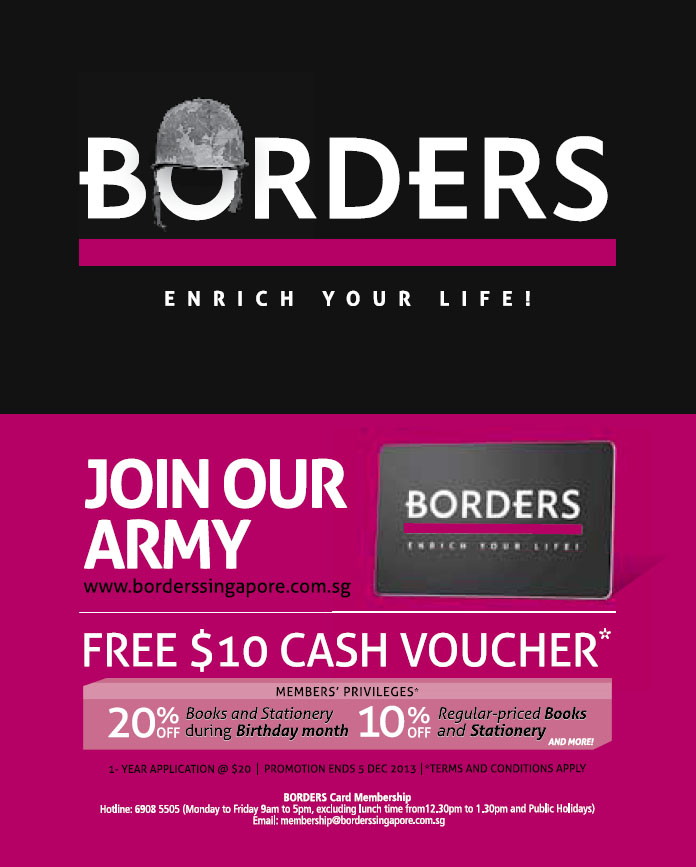 Borders Singapore Comeback Promotion: Sign Membership @ $20 & Received $10 Cash Voucher