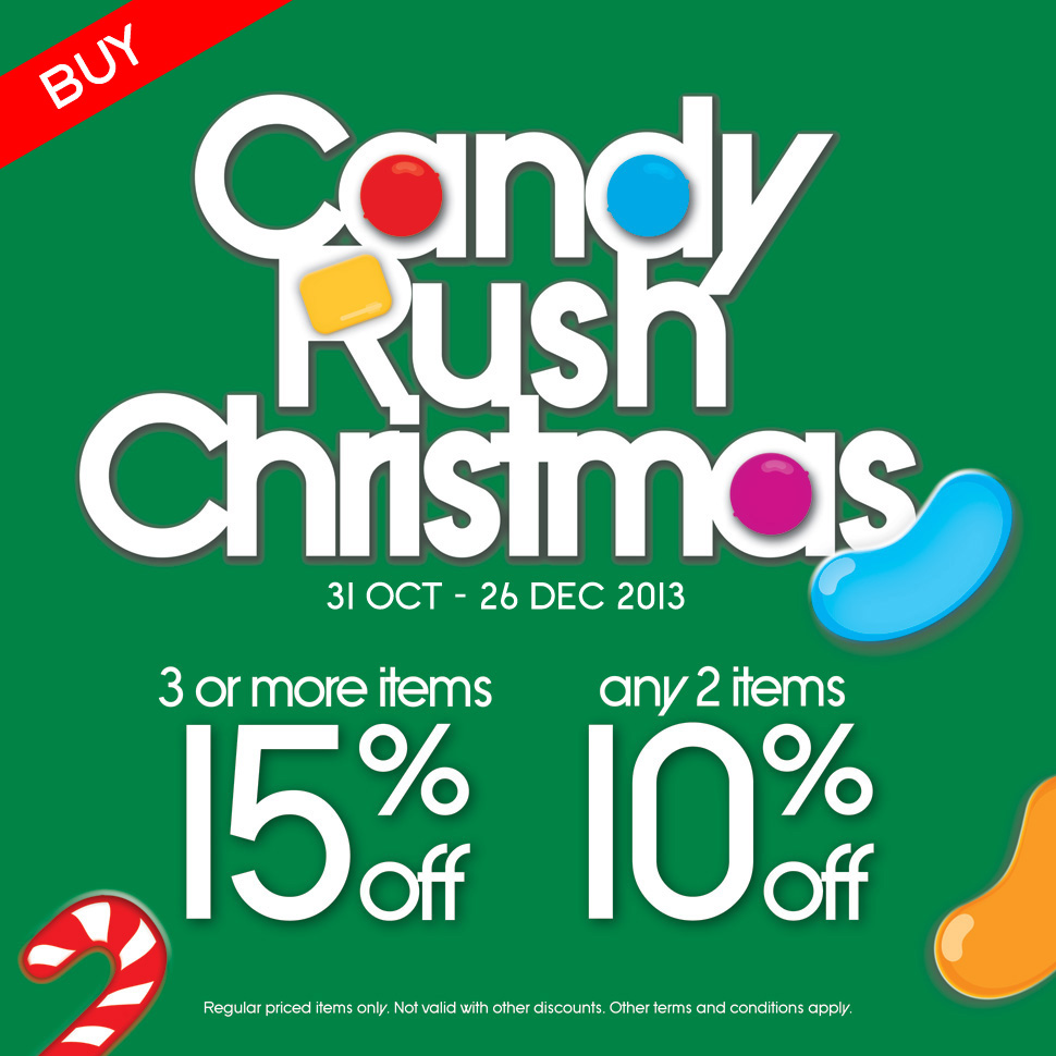 "The Wallet Shop ""Candy Rush Christmas"" Promotion: 15% Discount When You Purchase 3 Items"