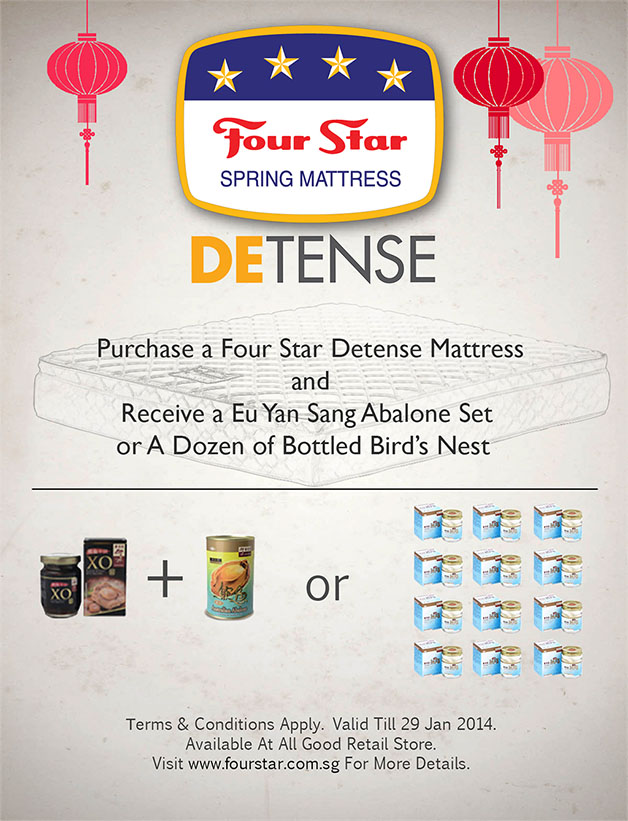 Four Star DETENSE Spring Mattress New Year Promotion Offers Eu Yan Sang Abalone Set Or Dozen Bottled Bird's Nest