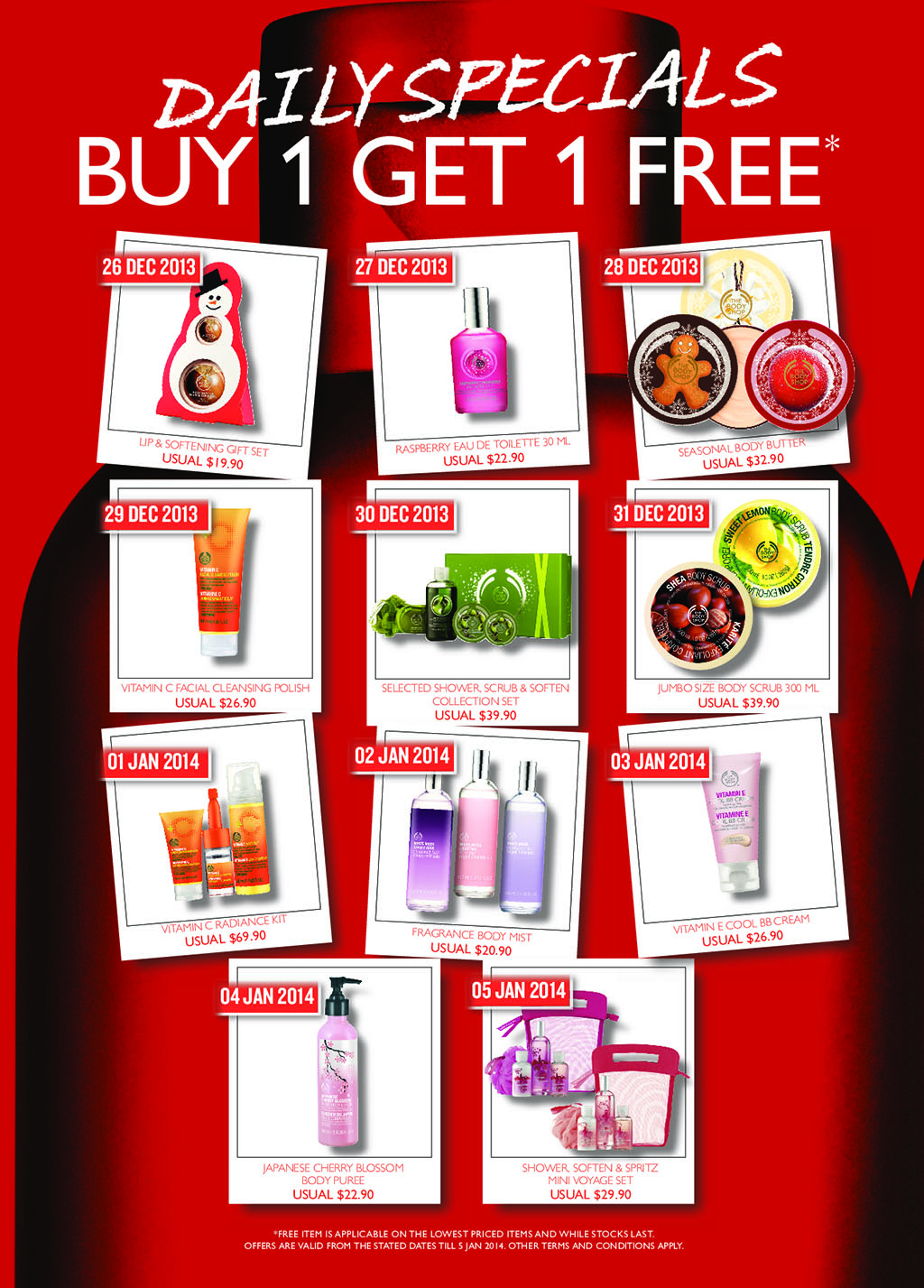 [BOGO] The Body Shop Post Christmas Offer 2013/2014: 1-For-1 Daily Specials On Body Scrubs, Facial Polish & More