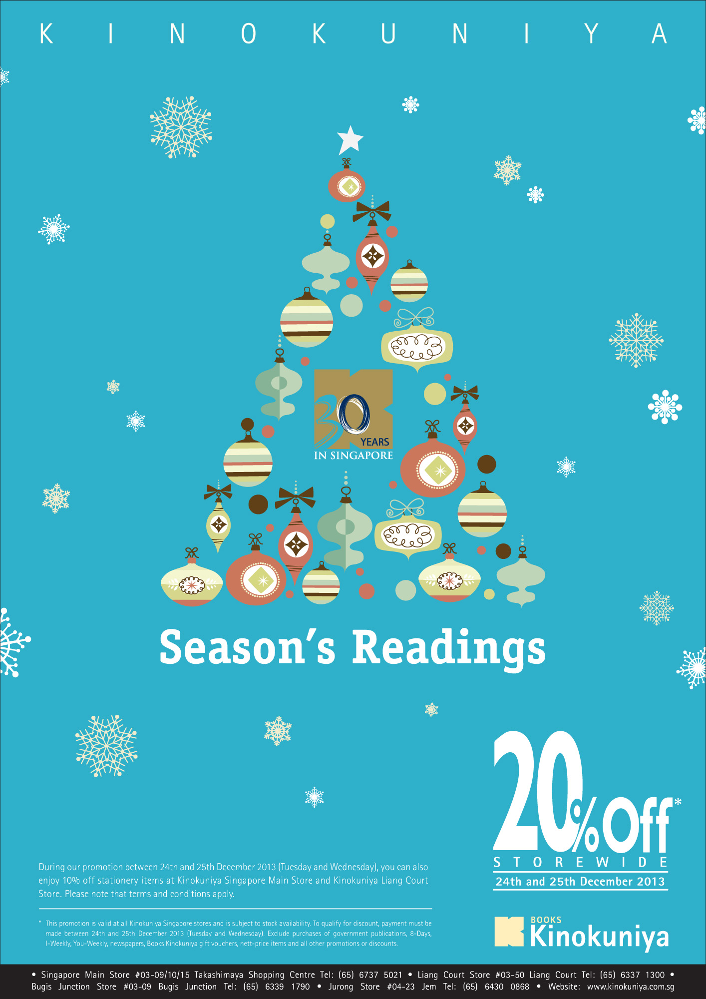 Kinokuniya Christmas Promotion 2013: 20% Storewide Discount For All Customers