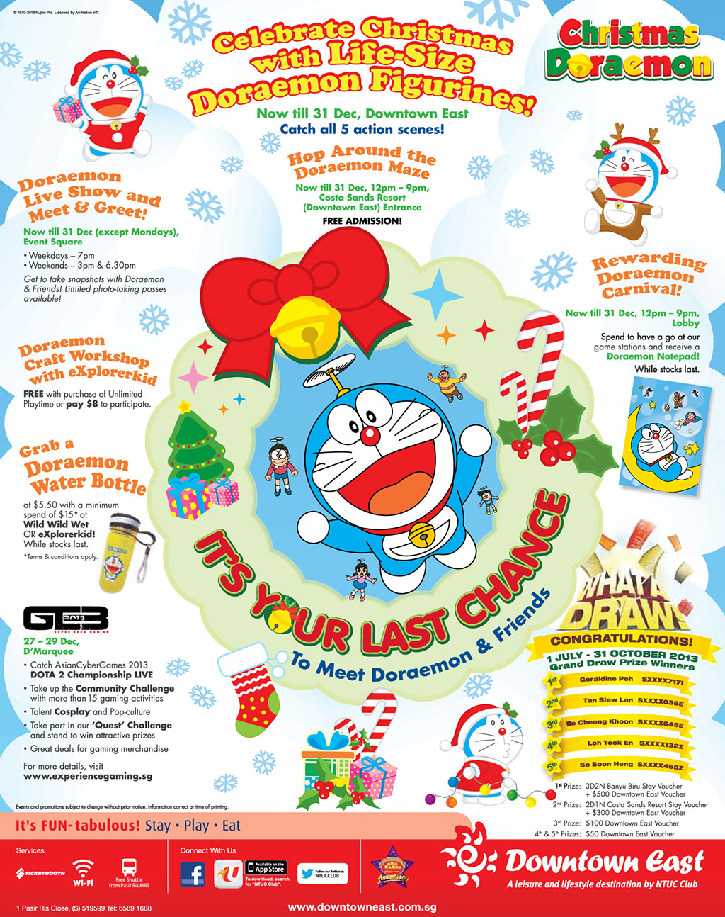Downtown East Doraemon Festival 2013: Celebrate Christmas With Life-Size Doraemon Figures + GE3 Gaming Event