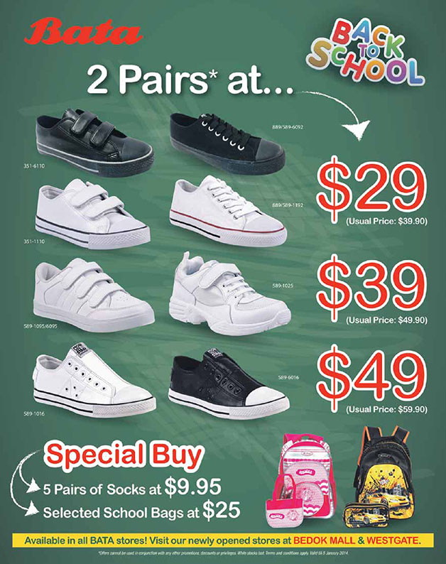 Bata Back To School Sale Promotion 2014: Specials Buys On Shoes, Socks & Bags