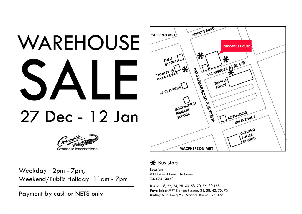 Crocodile Warehouse Sale 2013/2014: Up To 80% Discounts On Fashion Apparels & Accessories