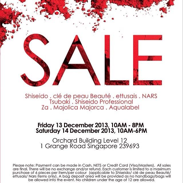 Shiseido Warehouse Sale 2013 @ Orchard Building: Great Bargains On Cosmetics & Skin Care Products
