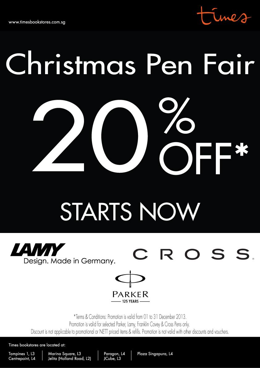 Times Bookstores Christmas Pen Fair 2013: 20% Off Parker, Lamy, Franklin Covey & Cross Collection