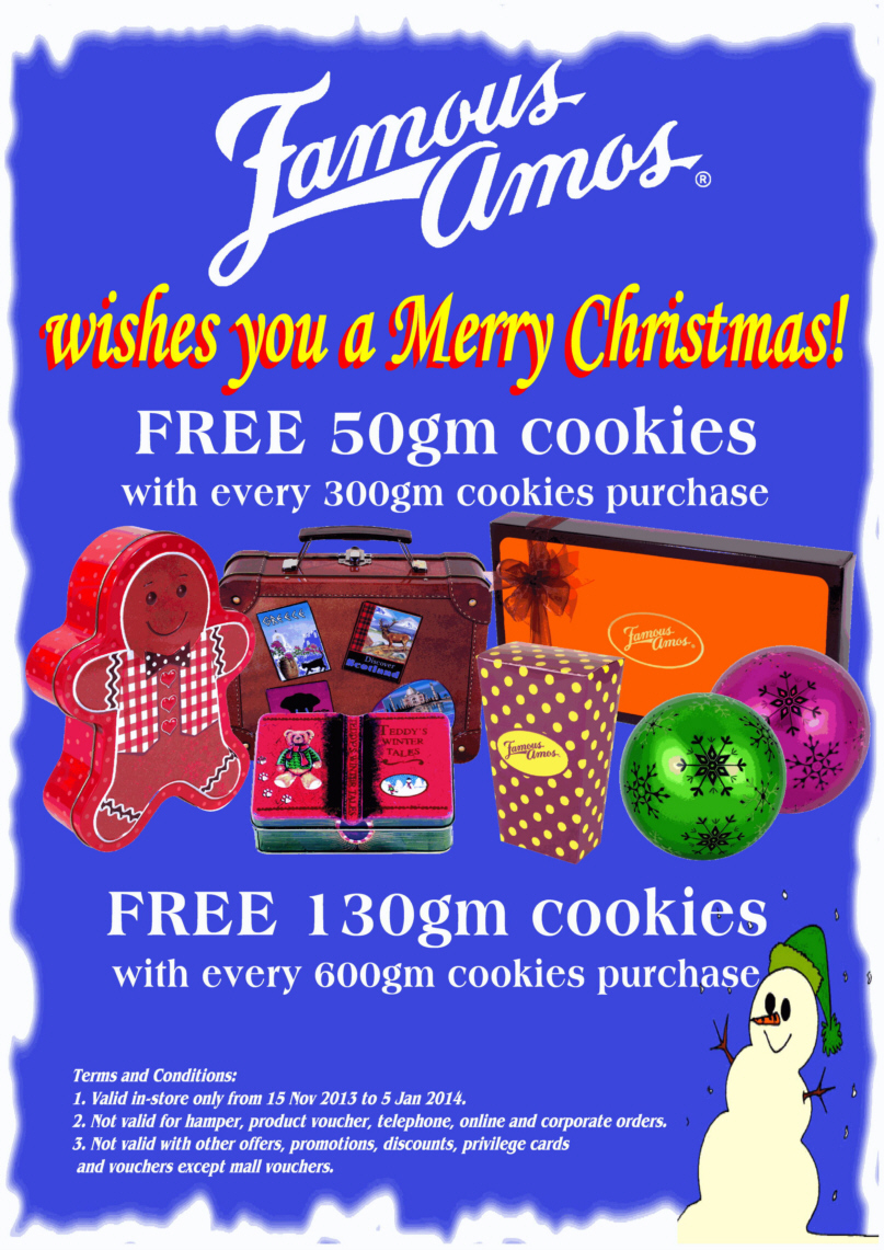 Famous Amos Cookies Christmas Promotion 2013: Free 130grams Cookies With Every 600grams Purchased