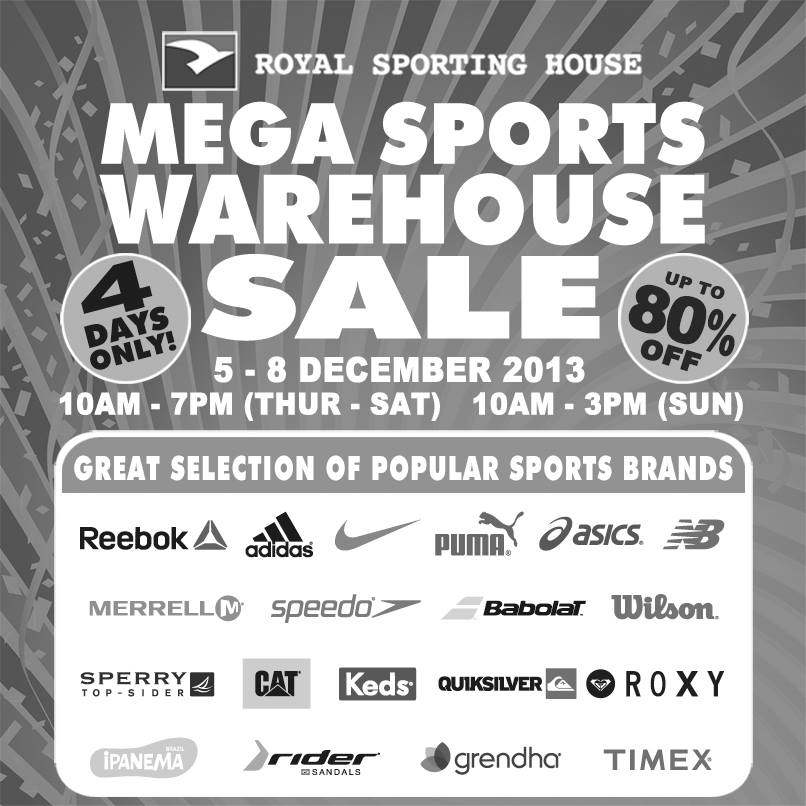 Royal Sporting House Mega Sports Warehouse Sale 2013: Up To 80% Off Popular Sports Brands