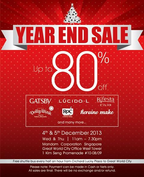 Mandom Year End Sale 2013 @ Great World City: Up To 80% Discounts On Gatsby, RoC, Dollywink & More