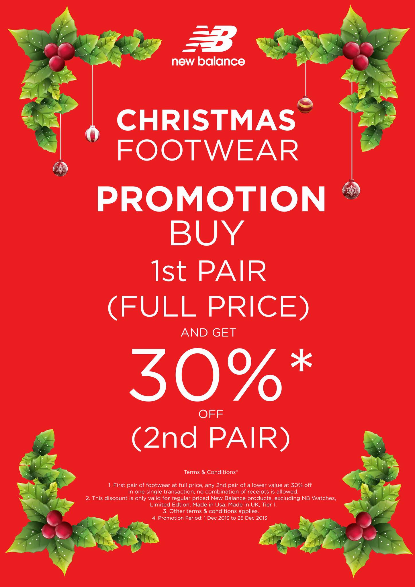 New Balance Christmas Footwear Promotion 2013: 30% Off Second Pair Purchase
