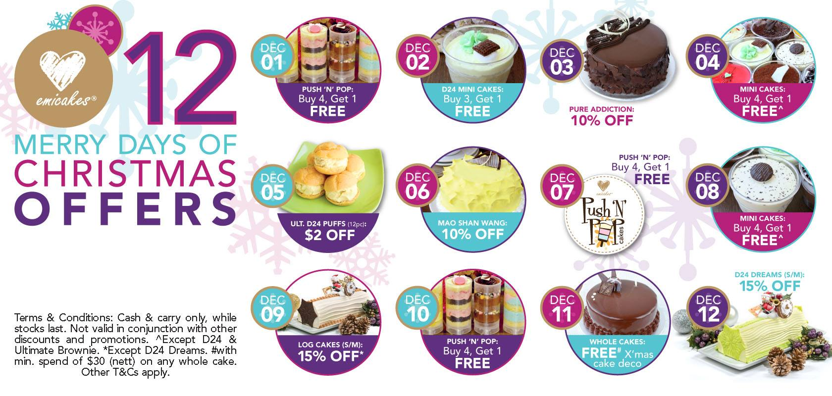 Emicakes 12 Merry Days Of Christmas Offers, Discounts & BOGO Deals On Puffs & Cakes