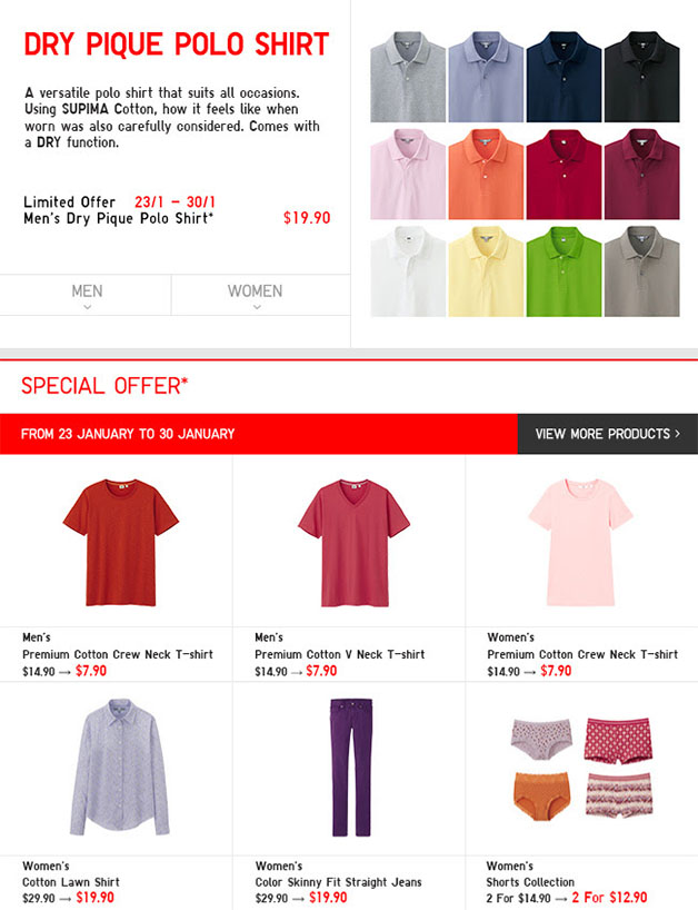 Uniqlo Limited Offers End January 2014: Polo, Crew Neck & Graphic T-Shirts From Just $7.90 Onwards