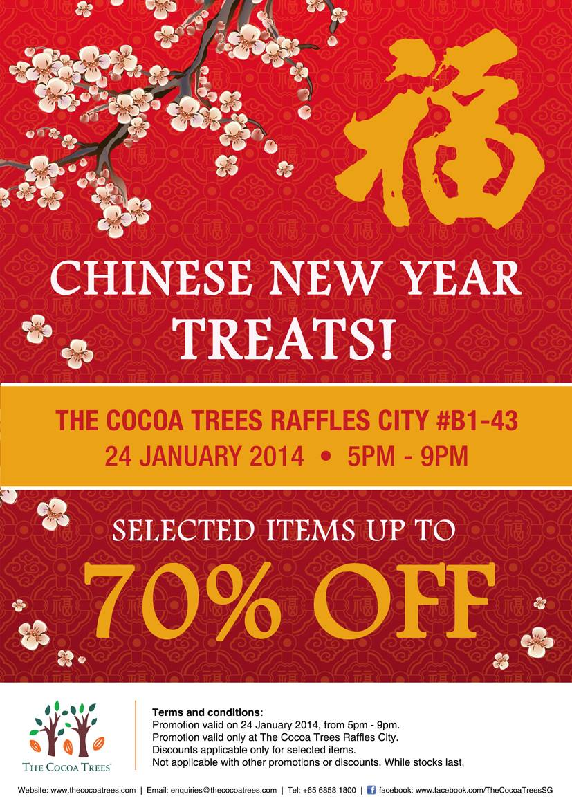 The Cocoa Trees Singapore Chinese New Year Treats Flash Sale Up To 70% Off Selected Items