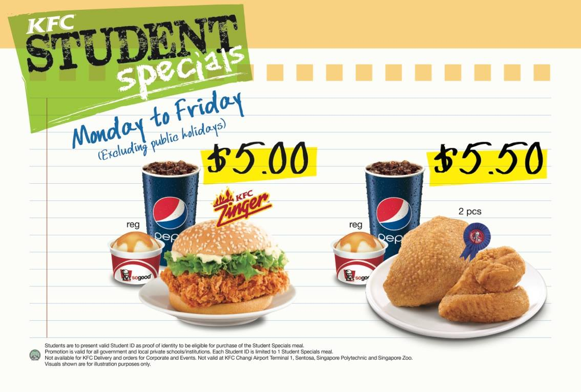 KFC Student Weekday Specials Meals From $5 Only January 2014 Promotion