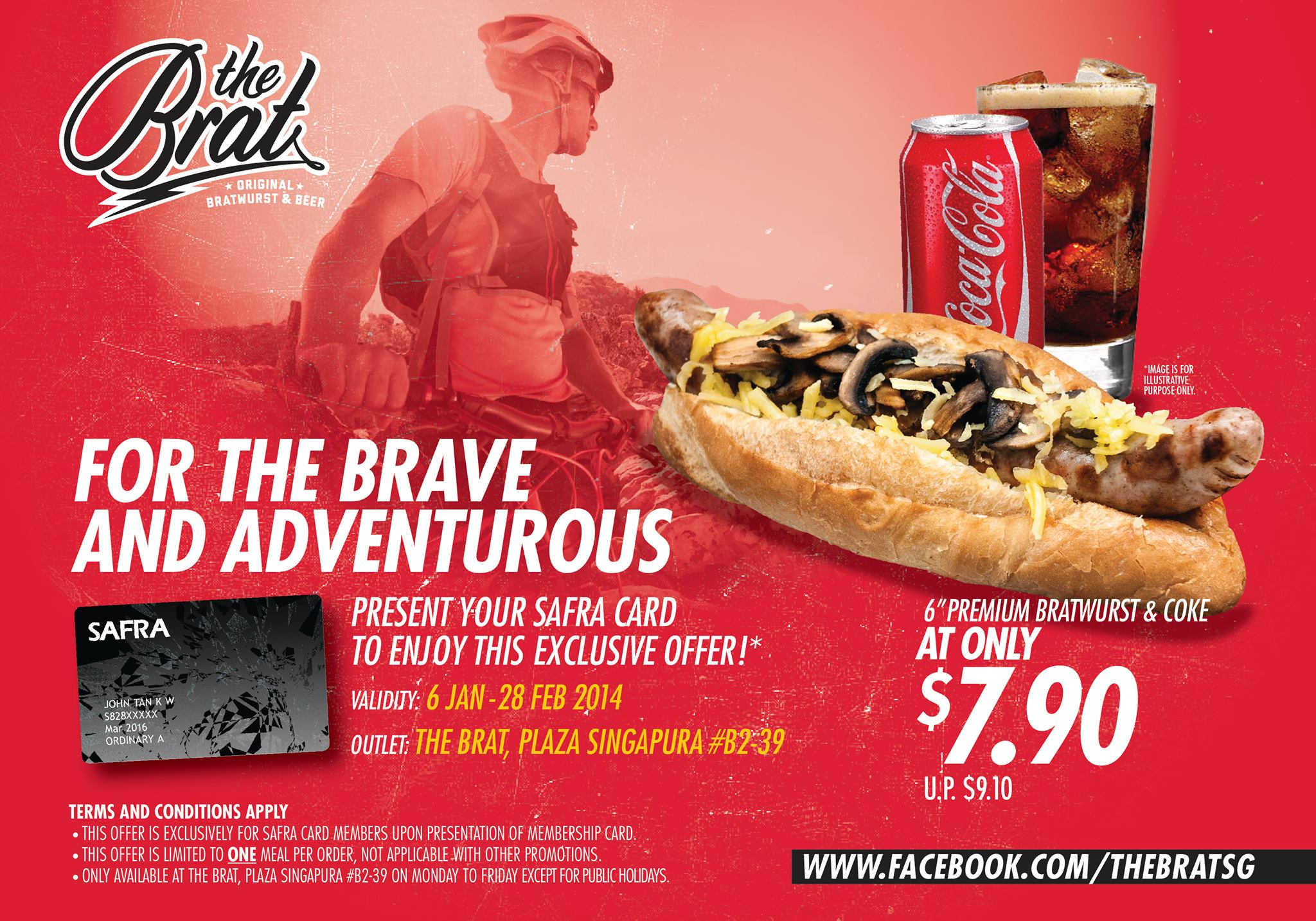 The Brat $7.90 Premium Bratwurst & Coke Combo For SAFRA Members @ Plaza Singapura