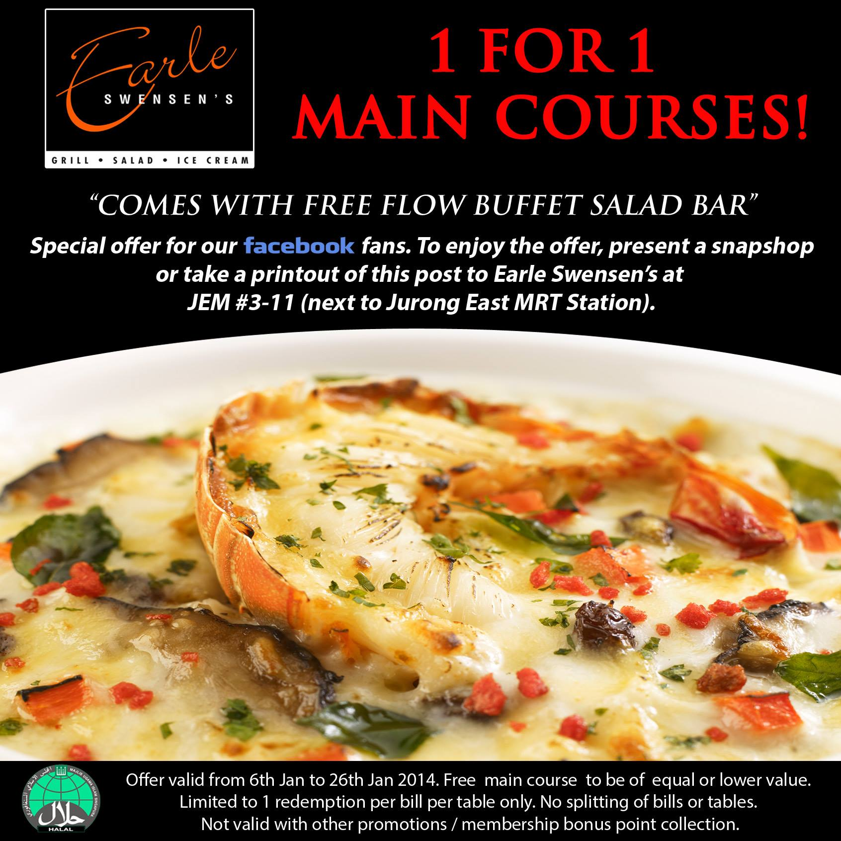 Earle Swensen's 1-For-1 Main Course January 2014 Promotion Comes With Free Flow Buffet Salad Bar