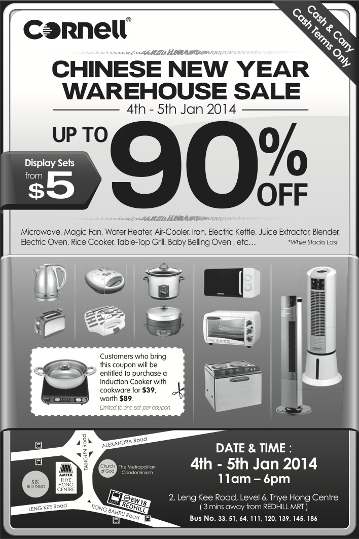 Cornell Chinese New Year Warehouse Sale January 2014: Up To 90% Off Kitchenware & Household Appliances