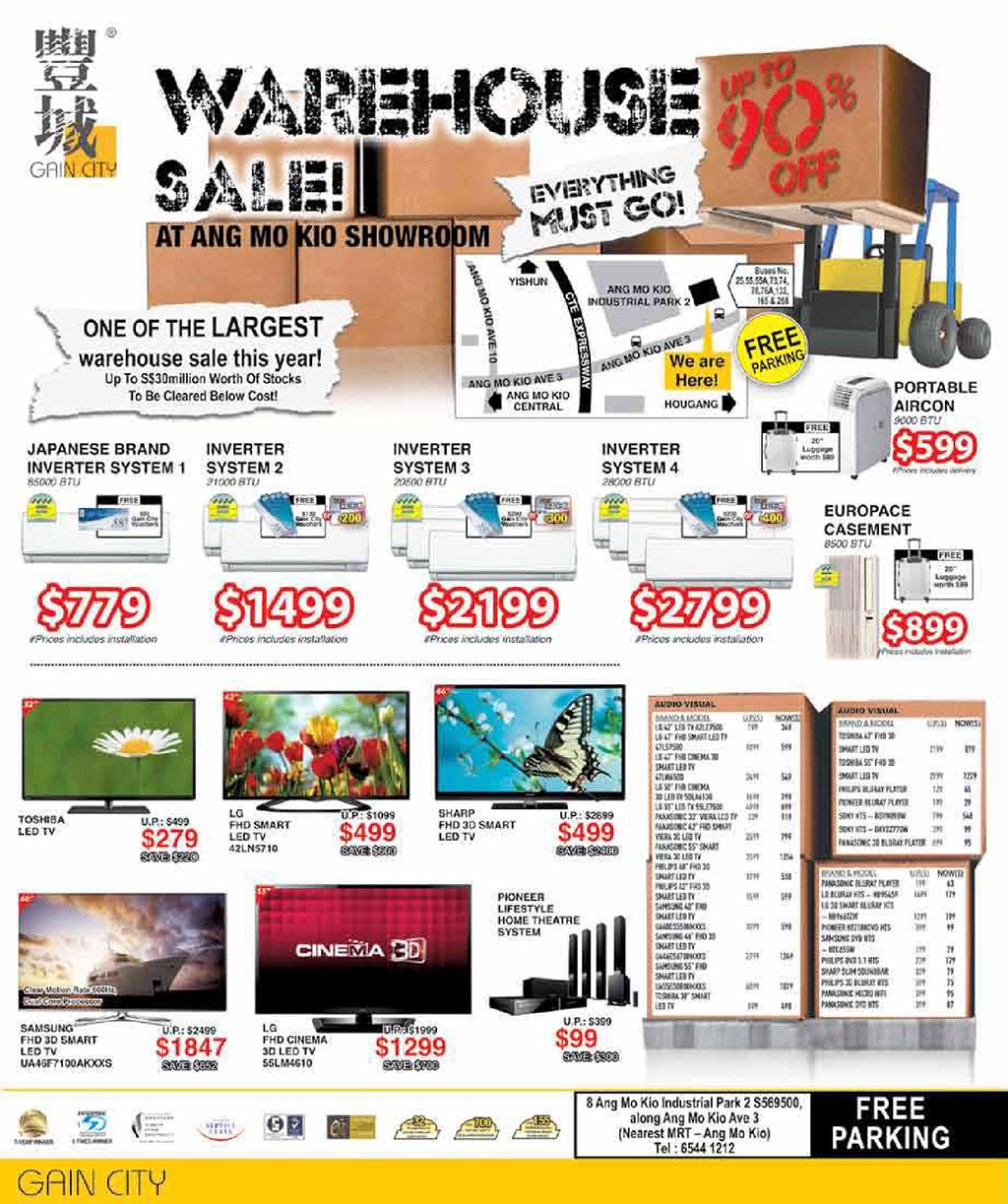 Gain City Warehouse Sale @ Ang Mo Kio Showroom February 2014: Up to 90% Off Electronics & More