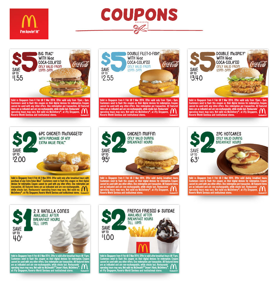 McDonald's Breakfast & Lunchtime Discount Coupons February 2014