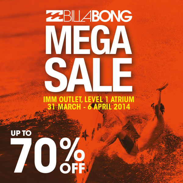 Billabong Mega Sale @ IMM April 2014: Up To 70% Discounts Off Beachwear, Tees & More