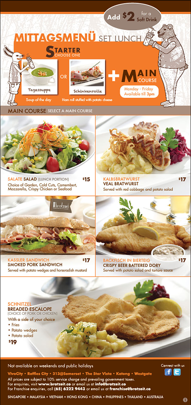 Brotzeit Weekday Lunch Set Promotion: Main Course + Soup Or Starter From $15 Only