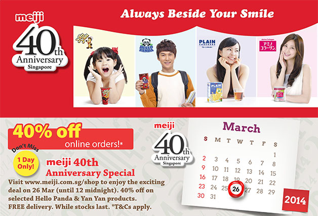 Meiji Celebrate 40th Anniversary With 40% Off Online Orders For One Day