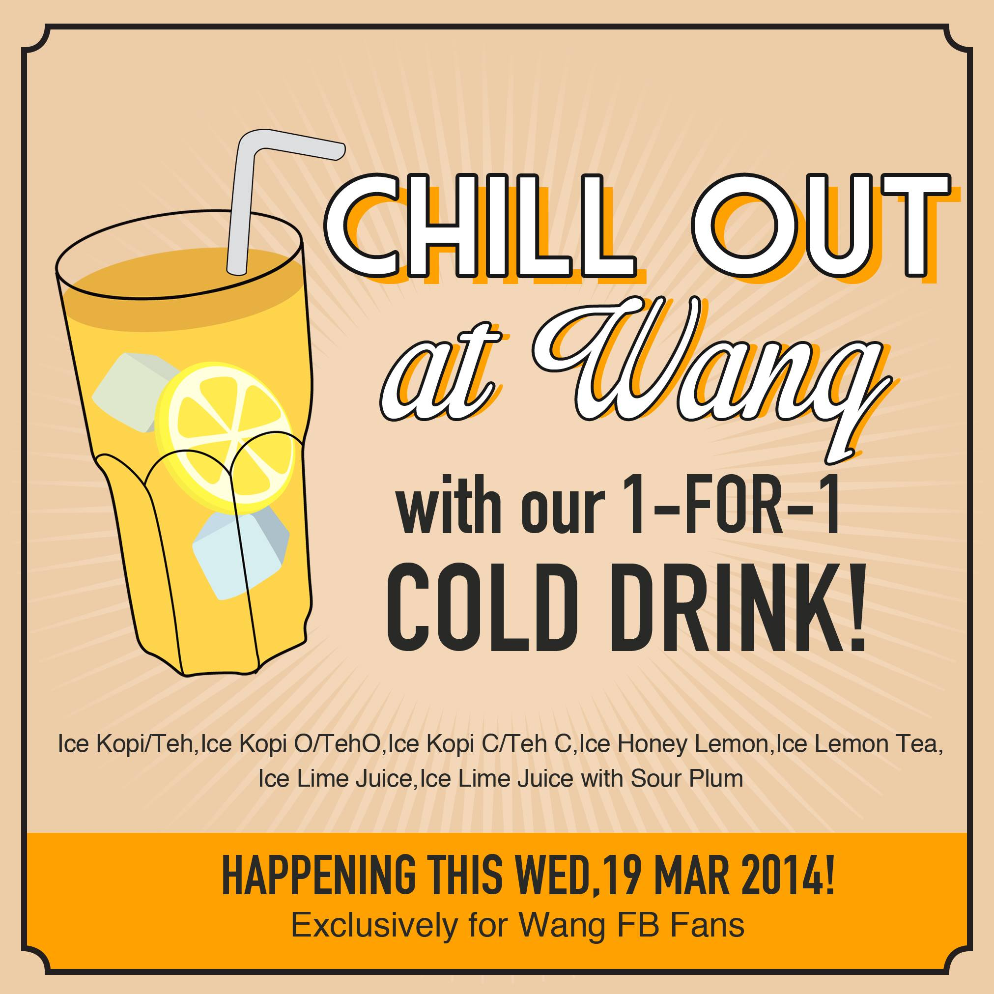 [BOGO] Wang Cafe 1-For-1 Offer For One Day, Wants You To Grab A Friend Along