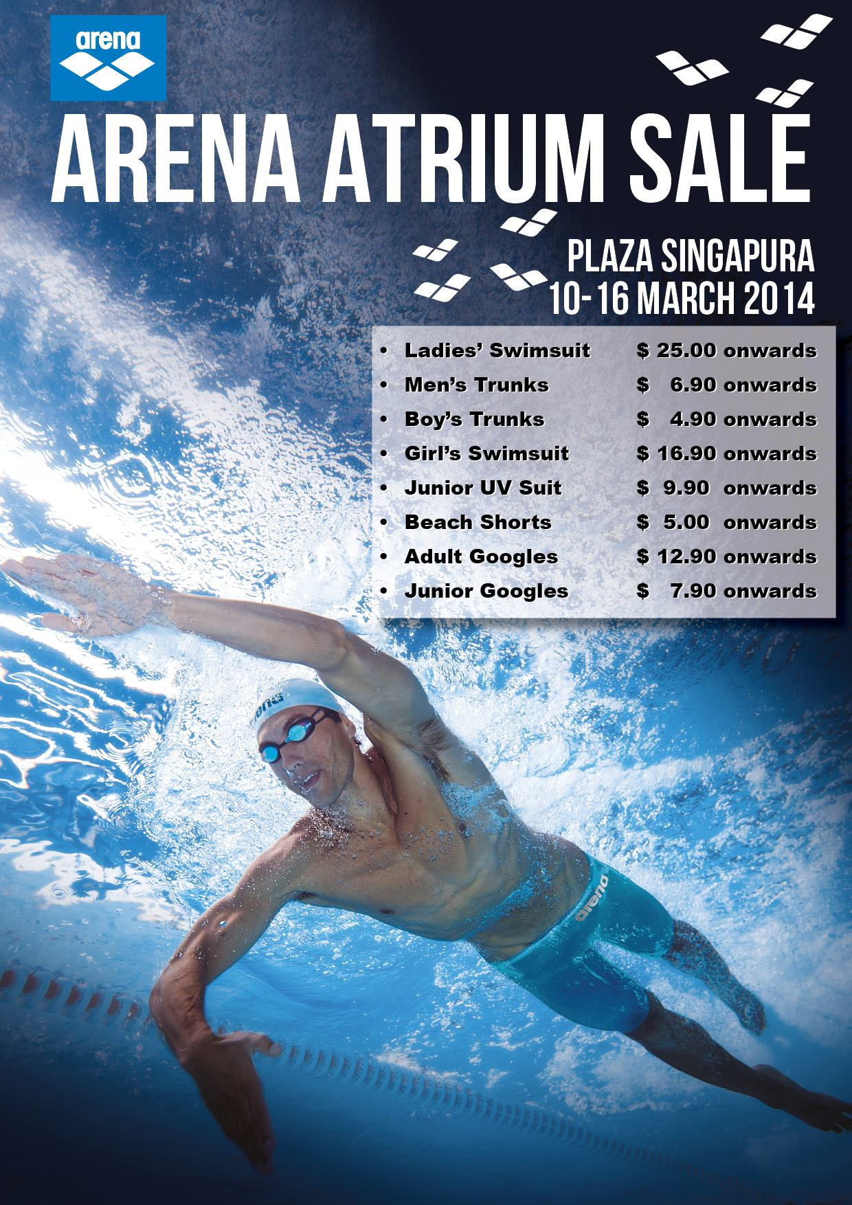 Arena Atrium Sale March 2014 @ Plaza Singapura: Swimwear From $5 Onwards
