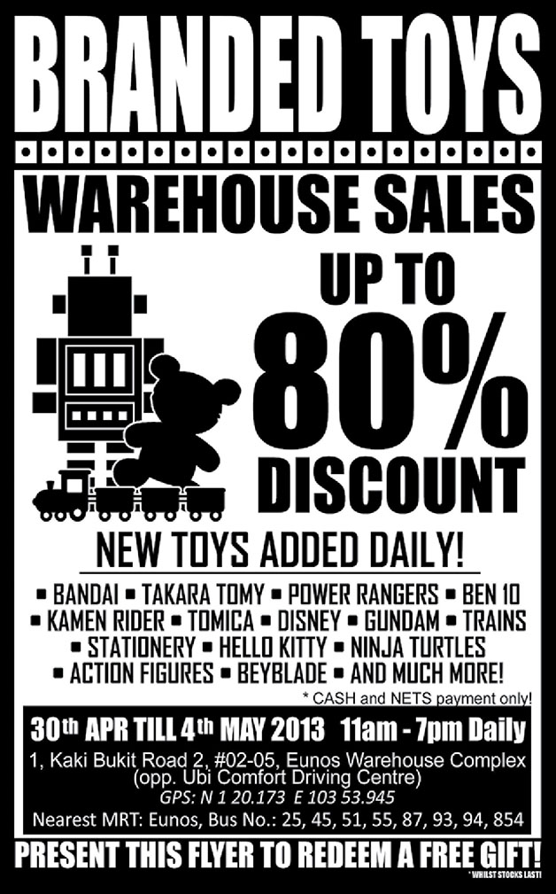 Sheng Tai Branded Toys Warehouse Sale 2014: Big Discounts On Popular Brands