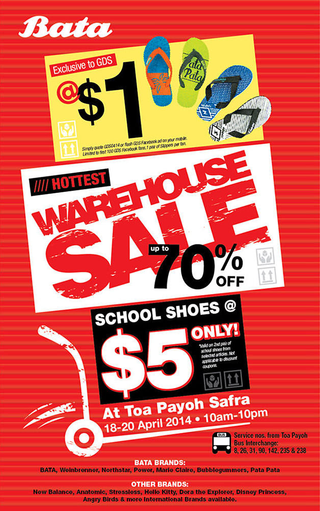 Bata Warehouse Sale @ Toa Payoh SAFRA April 2014: School Shoes From Just $5