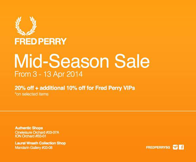 Fred Perry Mid-Season Sale April 2014: 20% On Selected Clothing, Additional 10% Discounts for VIP Members
