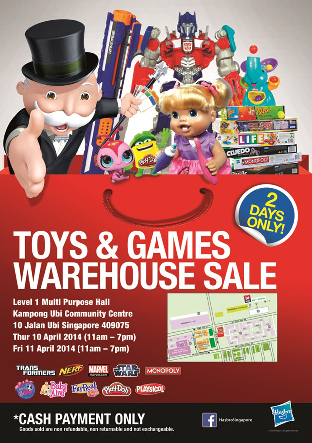 Hasbro Toys & Games Warehouse Sale @ Kampong Ubi Community Centre For 2 Days Only