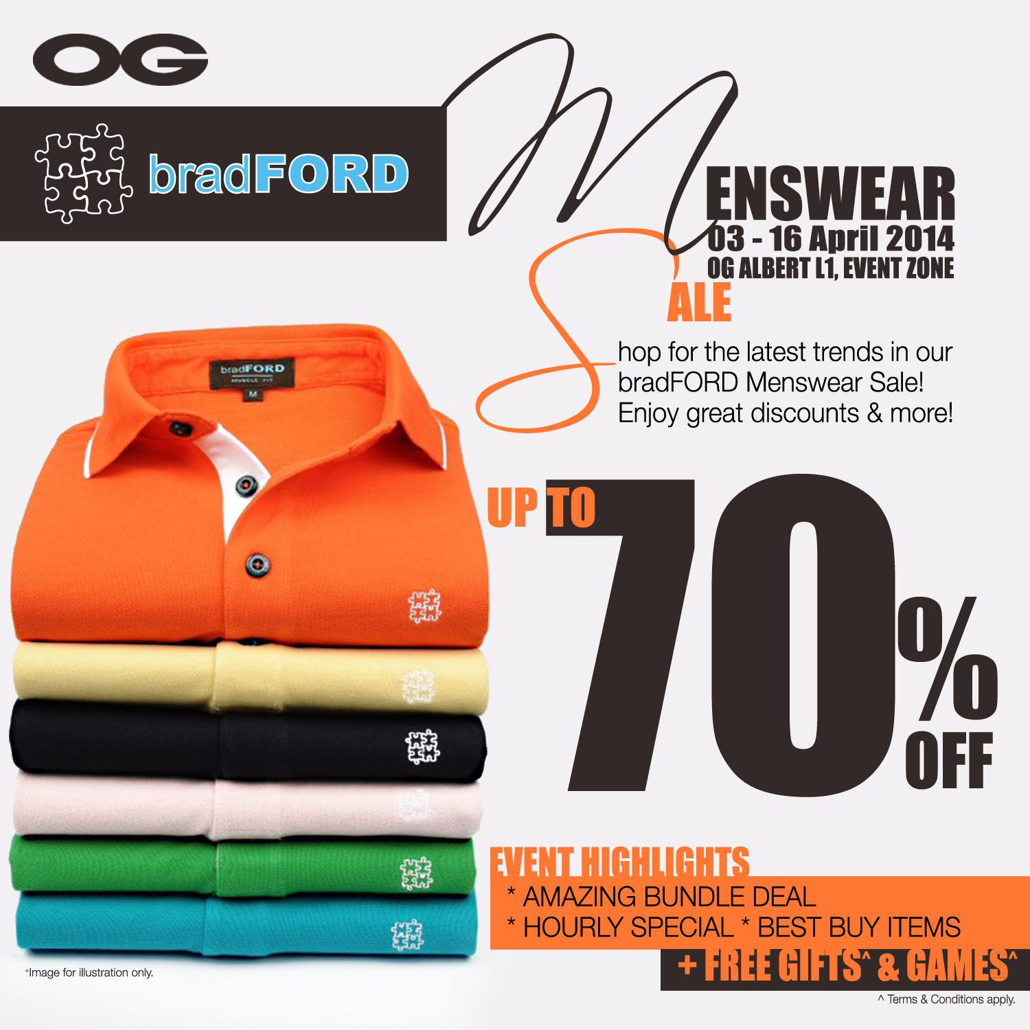 Bradford Menswear Sale Event Up To 70% Discounts @ OG Albert April 2014