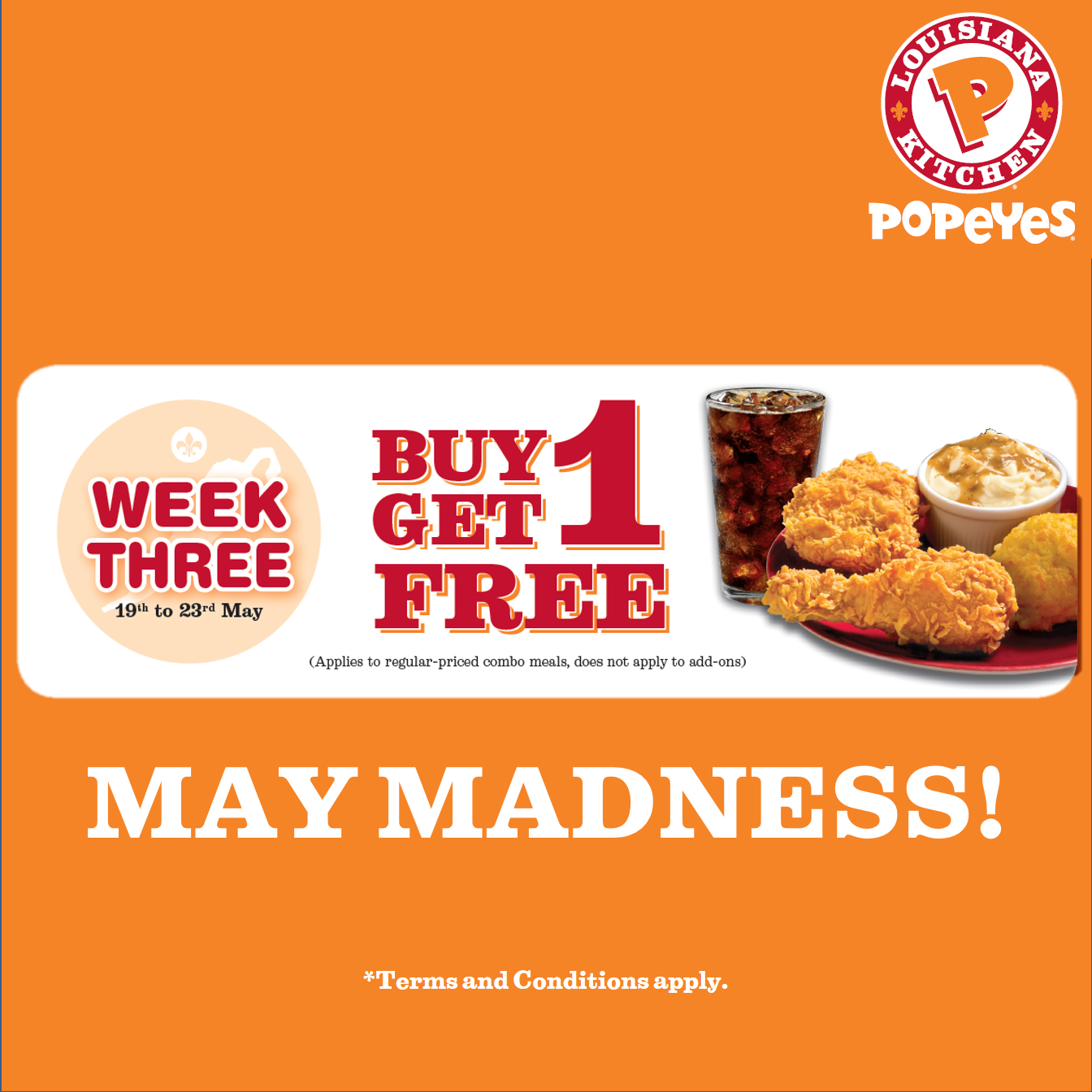 Popeyes Buy 1 Get 1 Free May Madness Offer On Combo Meals