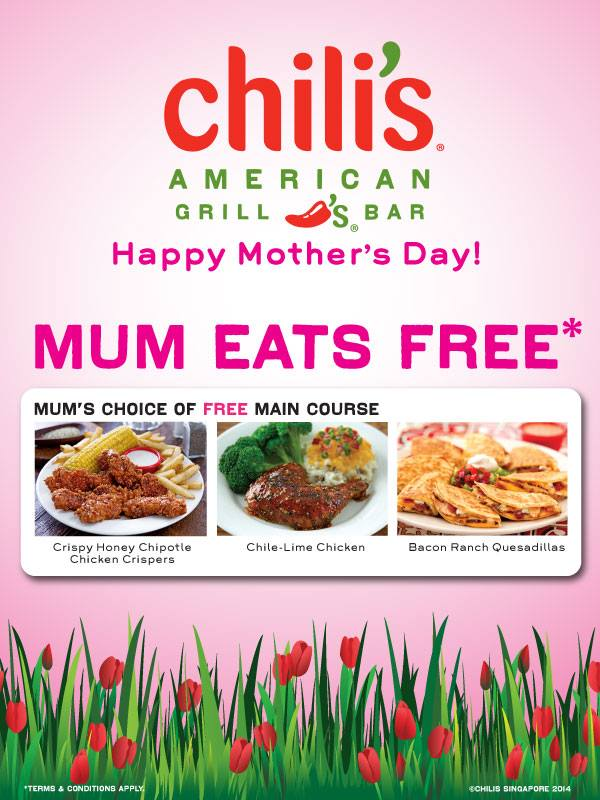 Mum Dines Free At Chilis Restaurants On Mothers Day Great Deals