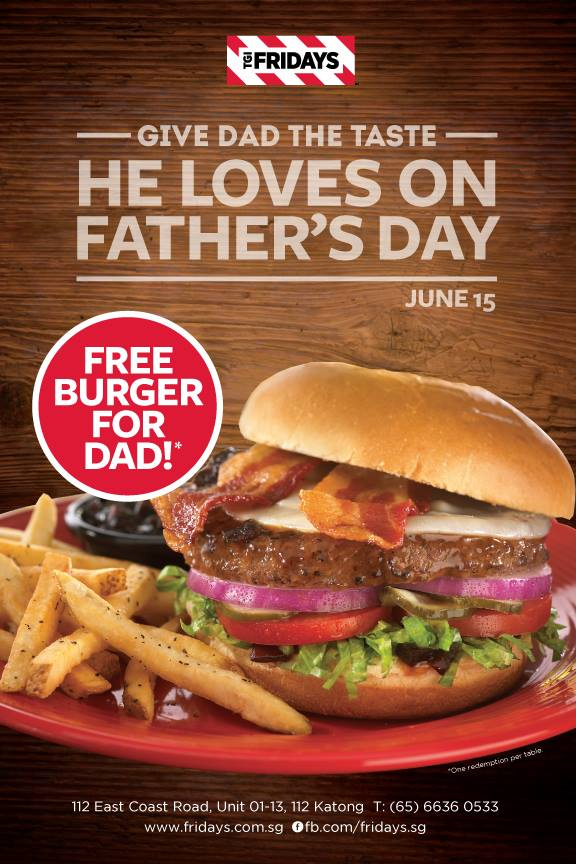 Dad Gets Free Burger @ T.G.I. Fridays This Father's Day