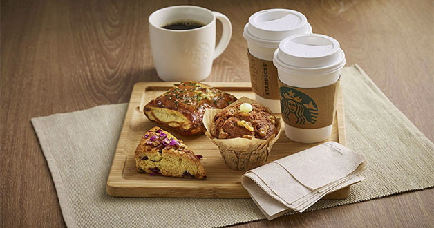 Purchase Starbucks handcrafted beverage, get $1 off Coffee Break food item