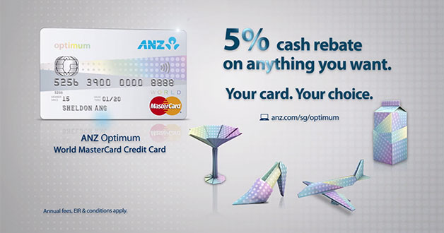 ANZ Optimum World MasterCard lets you earn 5% cash rebates on anything you want