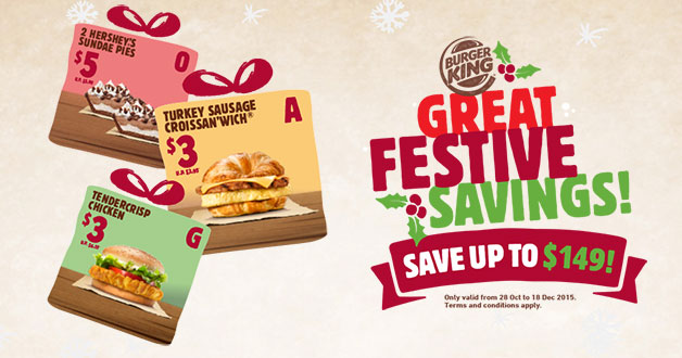 Burger King Great Festive Savings Coupons lets you save on burgers & set meals this year end