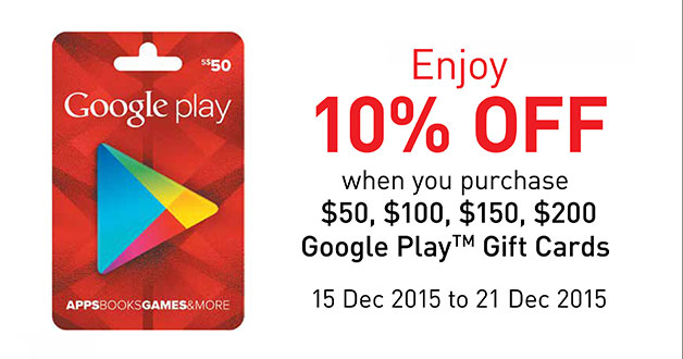 Enjoy 10% off Google Play Gift Cards at selected Cheers & FairPrice Xpress stores this month