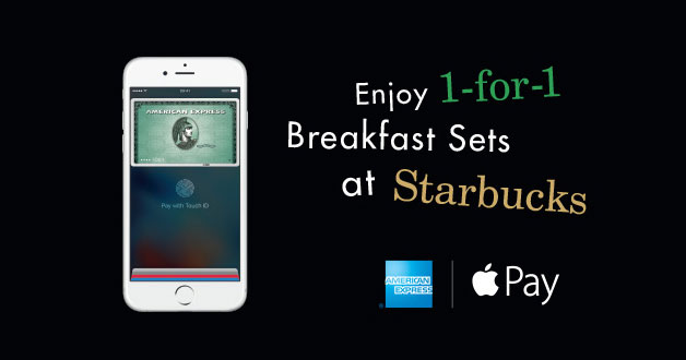 Enjoy 1-for-1 Starbucks Breakfast Sets when you pay with Amex on Apple Pay