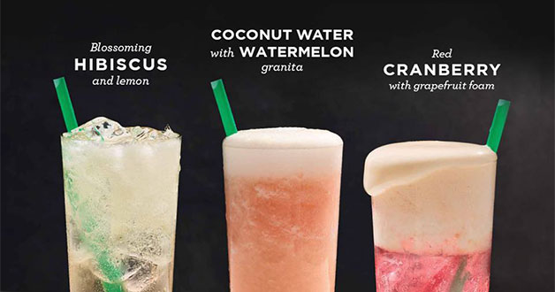 Starbucks new Fizzio: Hibiscus & Lemon, Coconut + Watermelon, and Cranberry x Grapefruit Foam