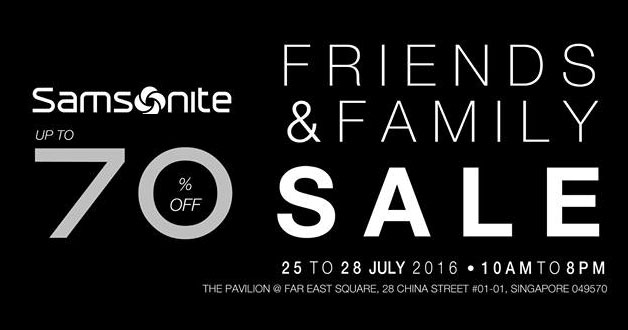 Samsonite Friends & Family Sale will be held at The Pavilion @ Far East Square next week