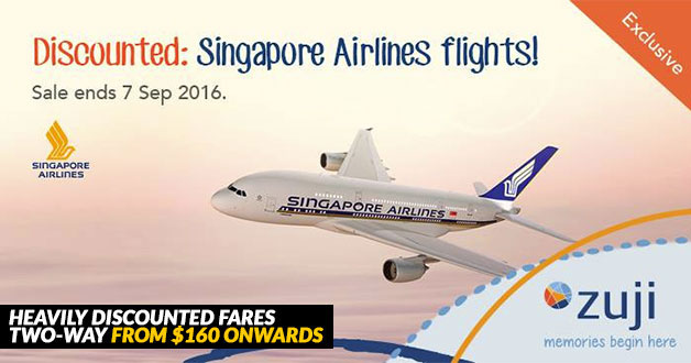 Heavily Discounted Singapore Airlines return flights in ZUJI 3-Day Flash Sale
