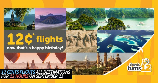 Tigerair celebrates 12th Anniversary with 12 cents flights to all destinations on September 23